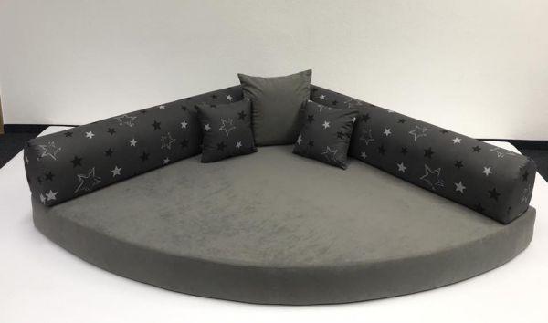 Kuschelecke Viertelkreis grau mit Sterne 140x140cm