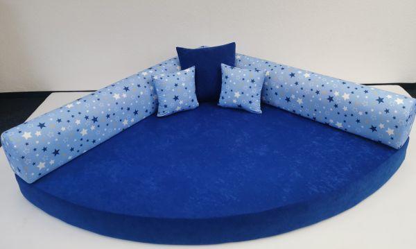 Kuschelecke Viertelkreis Sterne blau, inkl. Kissen 140 x 140 cm, Made in Germany