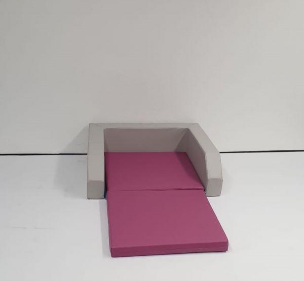 Kinderbett mit Einstieg hellgrau/cyclame