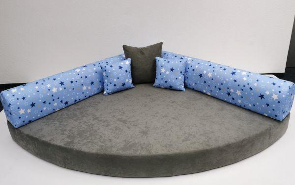Kuschelecke Viertelkreis Sterne blau/grau inkl. Kissen