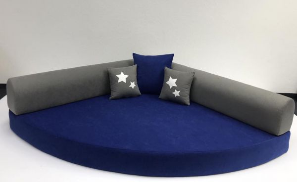 ab KW 04/2021 - Kuschelecke blau / grau inkl. Kissen mit Sterne